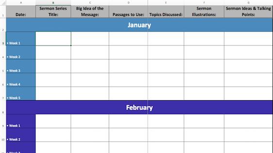 2017 Excel Sermon Calendar Template